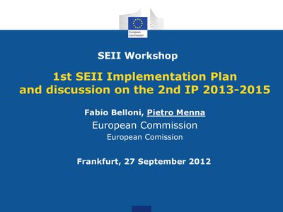1st SEII Implementation Plan and discussion about 2nd IP 2013-2015