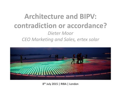 Architecture and BIPV: contradiction or accordance?