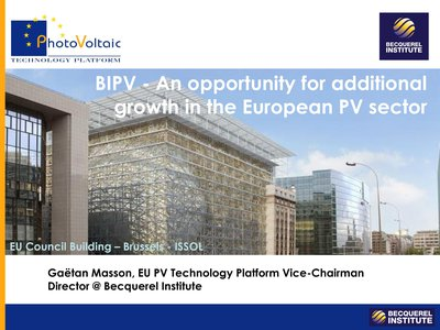 BIPV - an opportunity for additional growth in the European PV sector
