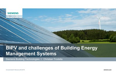 BIPV and challenges of Building Energy Management Systems