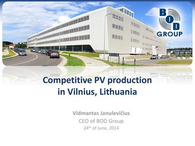 Competitive PV Production in Vilnius, Lithuania