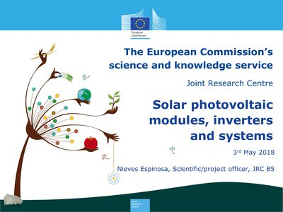 Current status of the joint preparatory study on Eco-Design, Eco-Labeling, Energy Labeling and Green Public Procurement of photovoltaic panels, inverters and PV systems