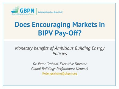 Do policies that encourage markets for BIPV pay? The monetary benefits of ambitious building energy policy