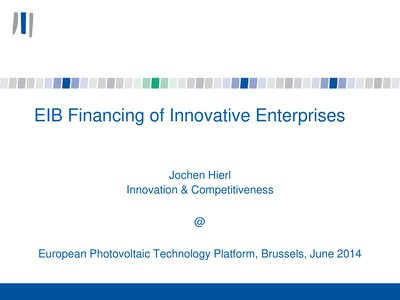 EIB financing of Innovative Enterprises
