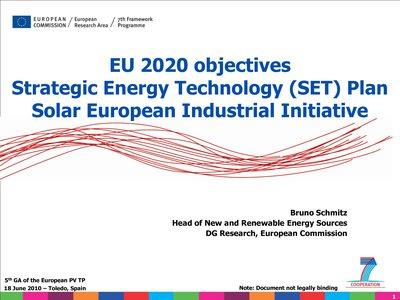 EU 2020 objectives - Strategic Energy Technology (SET) Plan Solar European Industrial Initiative