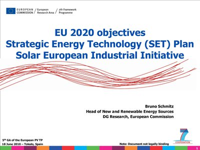 EU 2020 objectives - Strategic Energy Technology (SET) Plan Solar European Industrial Initiative