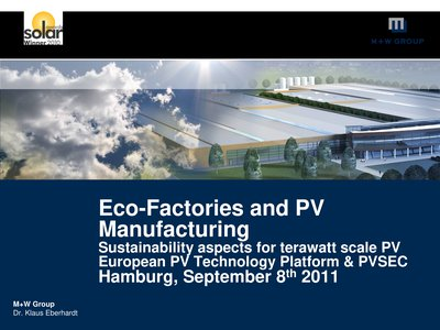 Eco-Factories and PV Manufacturing