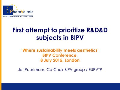First attempt to prioritize R&D&D needs for BIPV