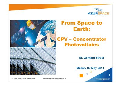 From Space to Earth: CPV – Concentrator Photovoltaics