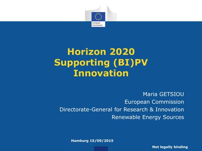 Horizon 2020 Supporting (BI)PV Innovation