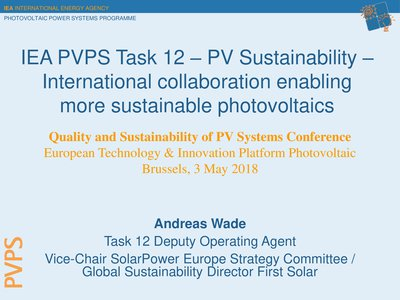 IEA PVPS Task 12 – PV sustainability – International collaboration enabling more sustainable photovoltaics