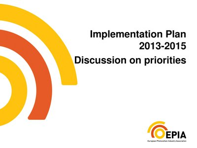Implementation Plan 2013-2015 – Discussion on priorities