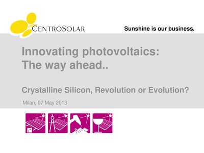 Innovating photovoltaics: The way ahead..