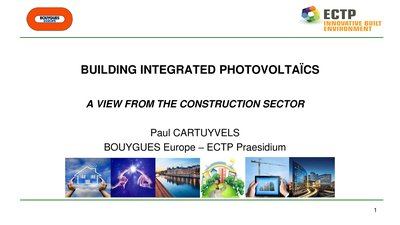 Integration of PV in buildings, the point of view of a contractor