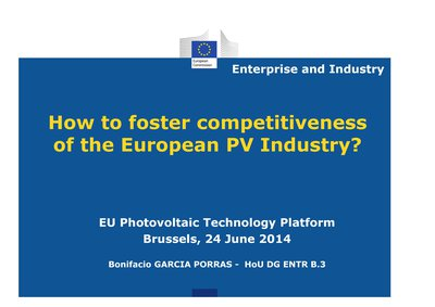 Key-note speech: How to foster competitiveness of the European PV Industry