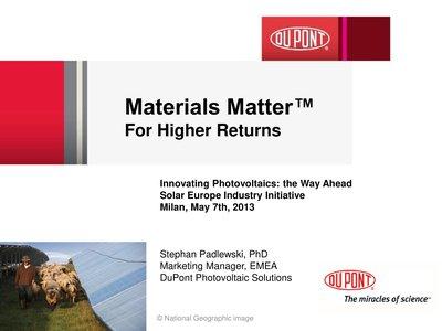 Materials Matter For Higher Returns