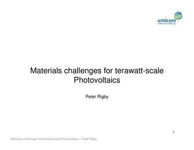Materials challenges for terawatt-scale Photovoltaics