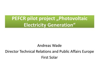 "PEFCR pilot project ""Photovoltaic Electricity Generation"""
