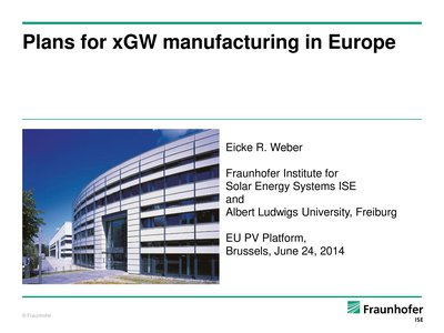 Plans for xGW Manufacturing in Europe