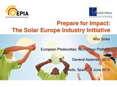 Presentation by Wim Sinke: Presentation of the SEII: Photovoltaics(PV)