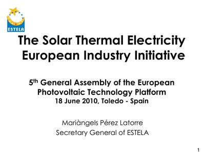Presentation of the SEII: Concentrated Solar Power(CSP)