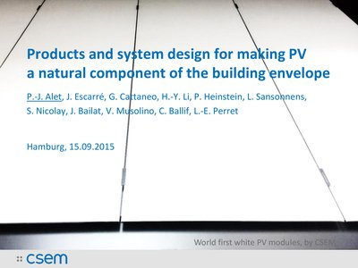 Products and system design for making PV a natural component of the building envelope