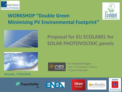 Proposal for EU Ecolabel for Solar Photovoltaic panels.