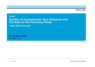 Quality of components: due diligence and the role of the planning phase