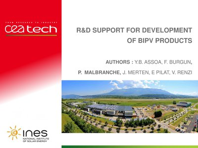 R&D support for development of BIPV products