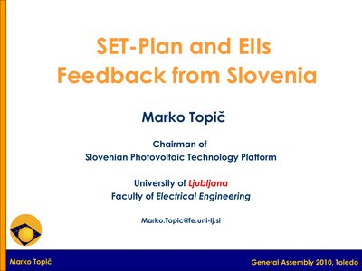 SET-Plan & Industry Initiative: Feedback from Slovenia