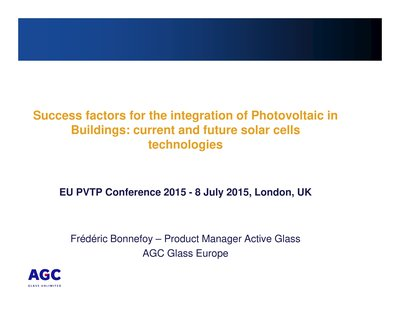 Success factors for the integration of photovoltaics in buildings, current and future solar cell technologies