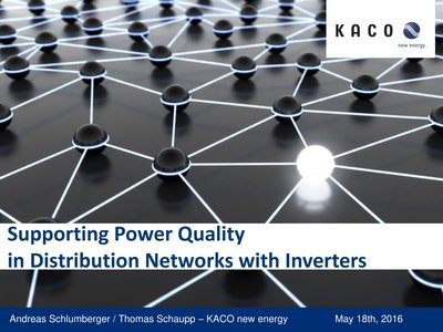 Supporting power quality in distribution networks with inverters