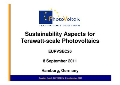 Sustainability Aspects for Terawatt-- scale Photovoltaics