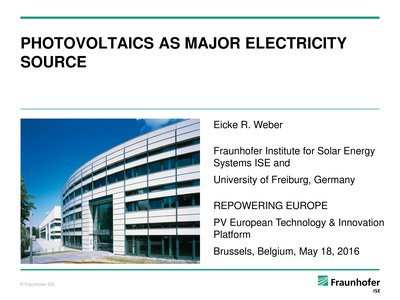 Technology/industry keynote: PV as major electricity source