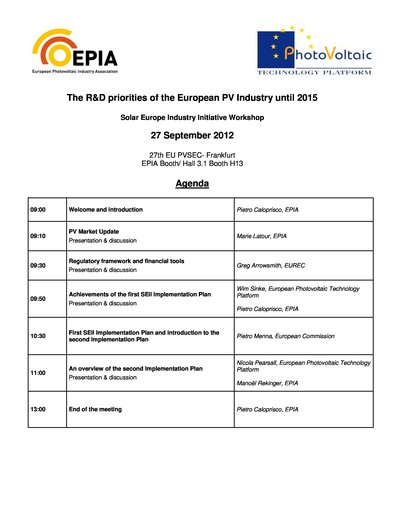 The R&D priorities of the European PV Industry until 2015 - Agenda