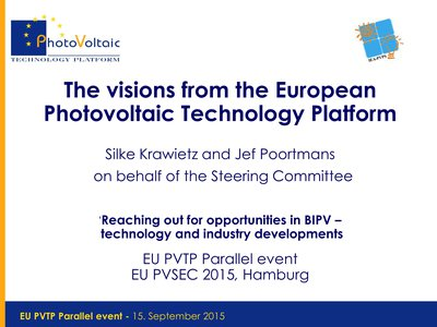 The Visions from the European Photovoltaic Technology Platform