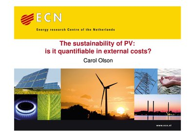 The sustainability of PV: is it quantifiable in external costs?