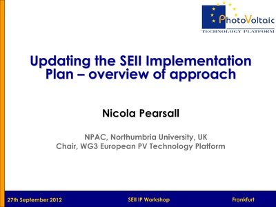 Updating the SEII Implementation Plan – overview of approach
