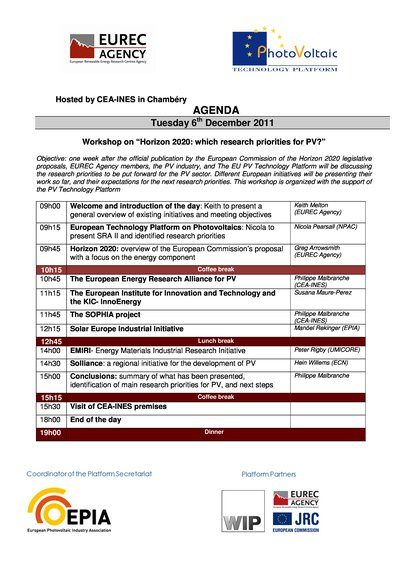 "Workshop on ""Horizon 2020: which research priorities for PV?"" - Agenda"