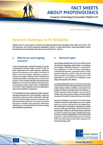 Research Challenges in PV Reliability (December 2020)